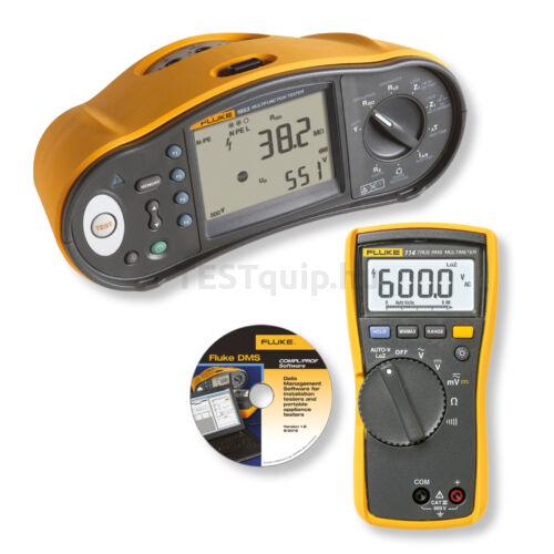 Fluke 1663 SCH-DMM/D univerzális érintésvédelmi műszer, Fluke 114 multiméter és DMS Plus szoftver