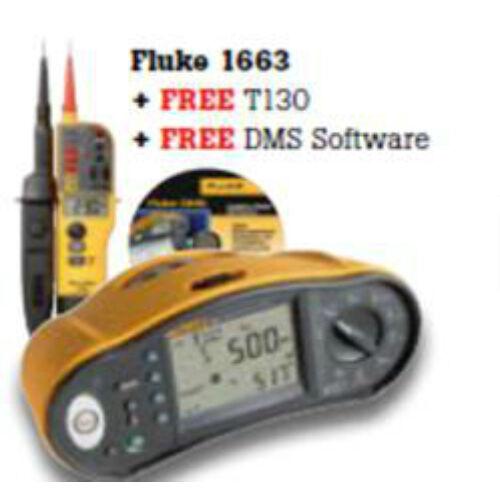 Fluke 1663 + T130 + DMS univerzális érintésvédelmi műszer, Fluke T130 feszültség teszter és DMS Plus szoftver